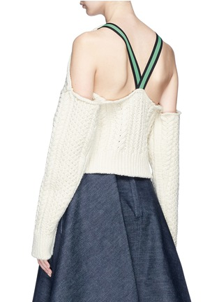 Back View - Click To Enlarge - CALVIN KLEIN 205W39NYC - Strap back cold shoulder cable knit cropped sweater