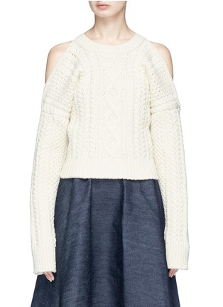 Main View - Click To Enlarge - CALVIN KLEIN 205W39NYC - Strap back cold shoulder cable knit cropped sweater