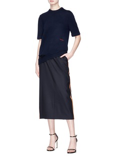 CALVIN KLEIN 205W39NYC Stripe outseam wool suiting pencil skirt