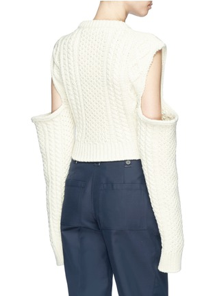 Back View - Click To Enlarge - CALVIN KLEIN 205W39NYC - Cold-shoulder cable knit sweater