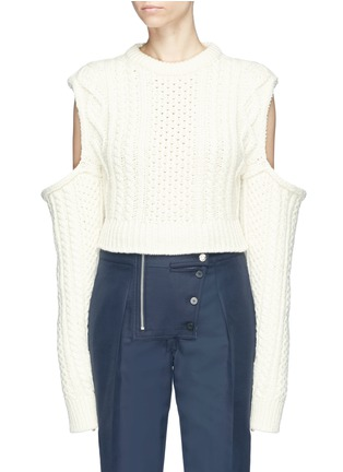 Main View - Click To Enlarge - CALVIN KLEIN 205W39NYC - Cold-shoulder cable knit sweater
