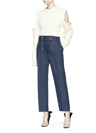 Figure View - Click To Enlarge - CALVIN KLEIN 205W39NYC - Cold-shoulder cable knit sweater