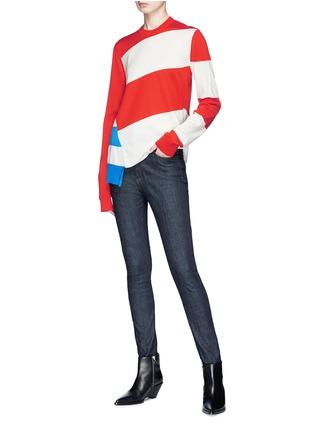 Figure View - Click To Enlarge - CALVIN KLEIN 205W39NYC - Stripe asymmetric hem sweater