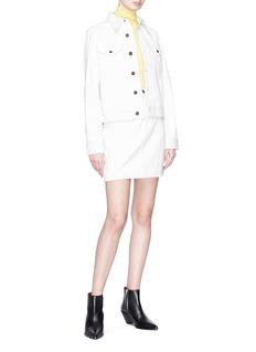 Calvin Klein 205W39NYC 女郎皮革装饰纯棉牛仔夹克