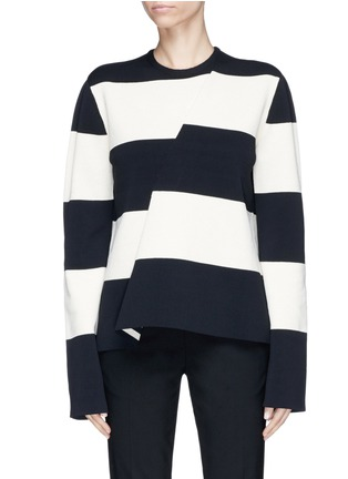 Main View - Click To Enlarge - CALVIN KLEIN 205W39NYC - Asymmetric stripe sweater