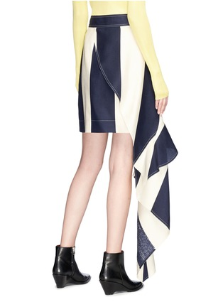 Back View - Click To Enlarge - CALVIN KLEIN 205W39NYC - Asymmetric ruffle stripe silk skirt