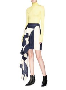 CALVIN KLEIN 205W39NYC Asymmetric ruffle stripe silk skirt