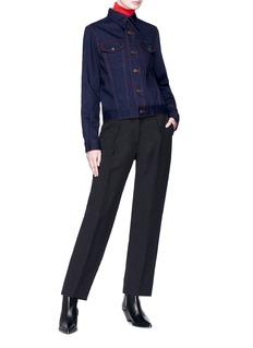 Calvin Klein 205W39NYC 女郎皮饰车缝线牛仔夹克