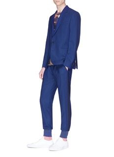 Paul Smith Stripe outseam pleated wool jogging pants