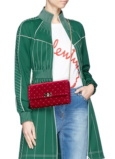 Valentino 'Rockstud Spike' quilted velvet chain bag
