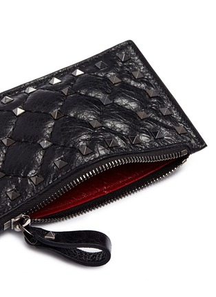 Detail View - Click To Enlarge - Valentino - 'Rockstud Spike' quilted leather zip card holder
