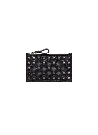 Main View - Click To Enlarge - Valentino - 'Rockstud Spike' quilted leather zip card holder