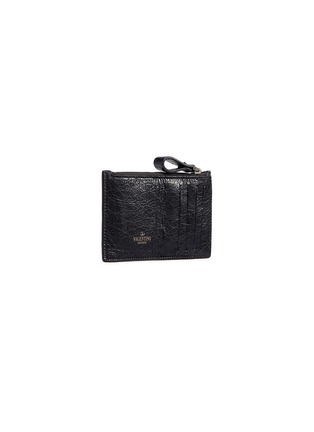 Figure View - Click To Enlarge - Valentino - 'Rockstud Spike' quilted leather zip card holder