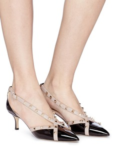 Valentino 'Rockstud' cross strap patent leather d'Orsay pumps