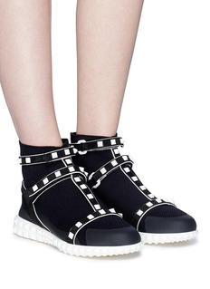 Valentino 'Rockstud' caged knit sock sneakers