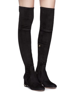 Valentino 'Rockstud' stretch suede thigh high boots
