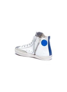 Golden Goose 'Francy' glitter tongue leather high top kids sneakers