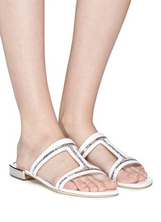 RODO Sequinned cutout leather sandals