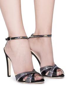 RODO Strass embellished panelled satin sandals