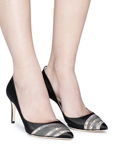 RODO Sequinned satin pumps