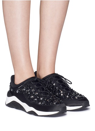Figure View - Click To Enlarge - Ash - 'Muse Beads' embellished lace sneakers