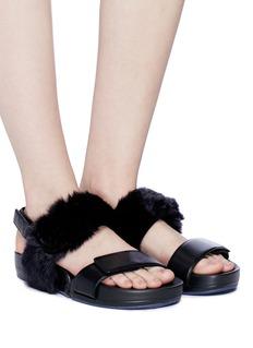 Figs By Figueroa 'Figulous' fur strap calfskin leather slingback sandals