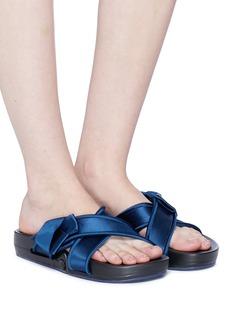 Figs By Figueroa 'Figomatic' silk satin bow cross strap slide sandals
