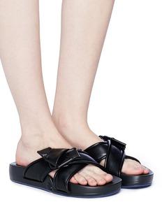 Figs By Figueroa 'Figomatic' sheepskin leather bow cross strap slide sandals