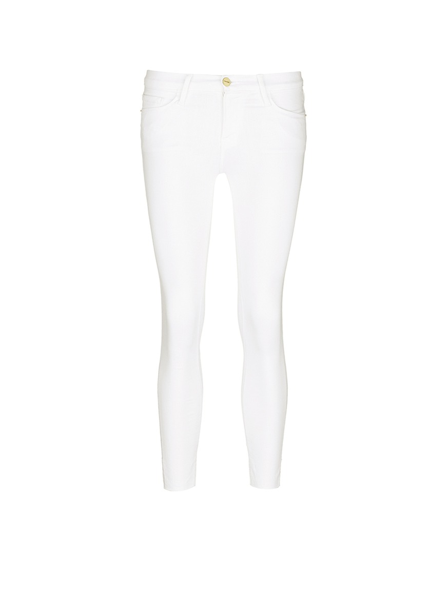 Le Skinny de Jeanne staggered cuff cropped jeans by Frame Denim