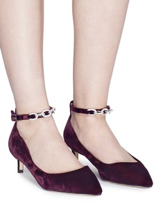 Pedder Red Strass chain ankle strap velvet pumps
