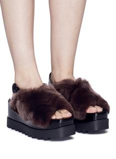 Pedder Red Faux fur cross strap slingback platform sandals