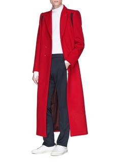 8ON8 条纹点缀羊毛长款大衣