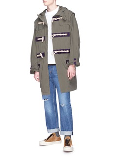 kolor Grosgrain trim hooded coat