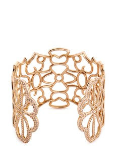 REPOSSI 'Ere' diamond 18k rose gold floral cutout cuff