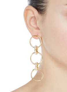 Joomi Lim Swarovski pearl mismatched interlocking hoop drop earrings