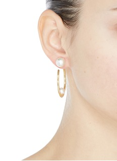 Joomi Lim Swarovski pearl medium hoop earrings