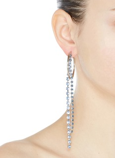 Joomi Lim 'Mad Maximalism' mismatched Swarovski crystal fringe drop hoop earrings