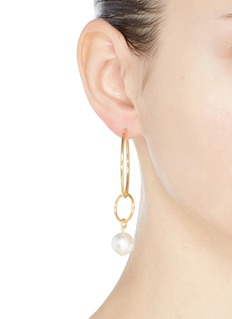 Joomi Lim 'Not Your Basic' Swarovski pearl mismatched medium interlocking hoop earrings