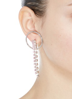 Joomi Lim 'Mad Maximalism' Swarovski crystal fringe hoop earrings