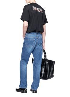 BALENCIAGA 品牌名称及波浪条纹纯棉T恤