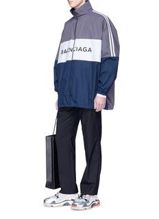 Balenciaga Logo print colourblock oversized track jacket