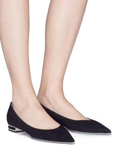 RENÉ CAOVILLA 闪粉鞋底绒面真皮尖头平底鞋