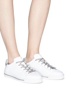 René Caovilla Strass trim leather sneakers