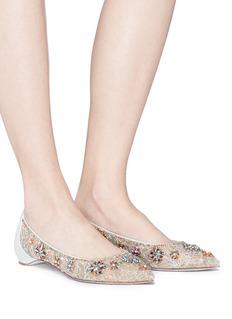 RENÉ CAOVILLA 珠饰真皮拼接蕾丝尖头平底鞋
