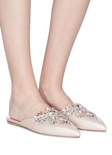 RENÉ CAOVILLA 仿水晶点缀尖头穆勒拖鞋