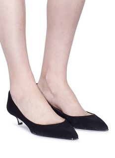 René Caovilla Strass trim suede pumps