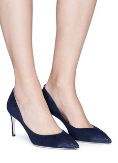 René Caovilla Strass embellished suede pumps