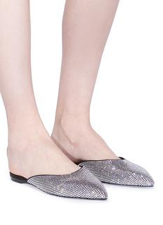 RENÉ CAOVILLA 仿水晶点缀缎面拖鞋