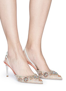 René Caovilla Strass embellished lace and leather slingback pumps