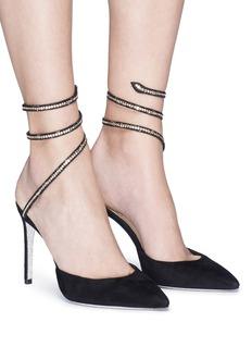 RENÉ CAOVILLA Snake仿水晶绕踝绊带绒面真皮细跟鞋